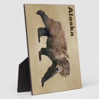 Kodiak Bear On Old Paper Plaque