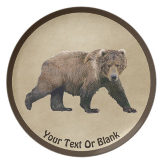 Kodiak Bear On Old Paper Plate