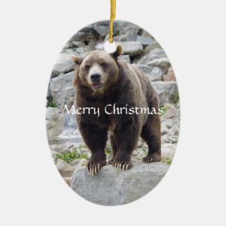 Kodiak Bear Standing on a Rock Ceramic Ornament