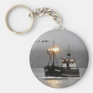 Kodiak, Crab Boat in Dutch Harbor, Alaska Basic Round Button Keychain