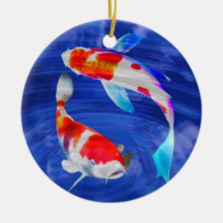 Kohaku Duo in Deep Blue Pond Ceramic Ornament