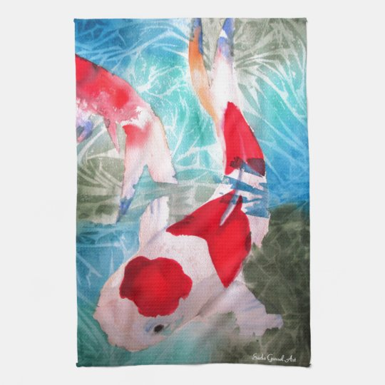 Kohaku Koi 2 Japanese watercolor fish art Towels