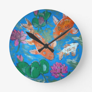 Koi Amongst Lotus Wall Clock