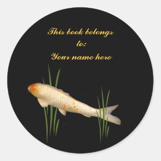 Koi Bookplate Classic Round Sticker