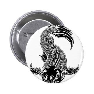 Koi Carp Fish Woodcut Style 2 Inch Round Button