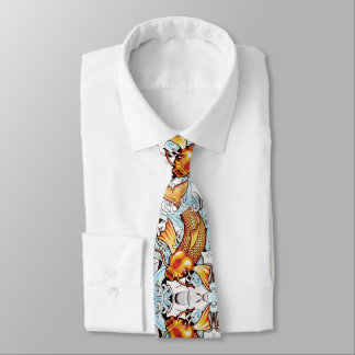 Koi Carp Japanese Tattoo Inspired Fish Fishing Tie