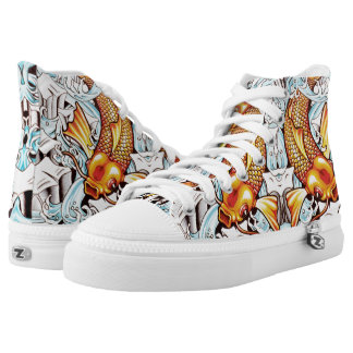 Koi Carp on Ice Tattoo Sneakers in Orange and Blue