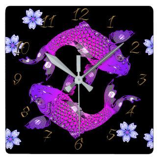 Koi carp square wall clock