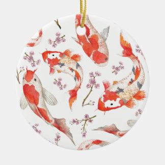 Koi Cherry Blossom Pattern Round Ceramic Ornament