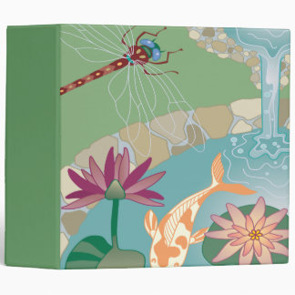 Koi Dragonfly Water Pond notebook Vinyl Binders