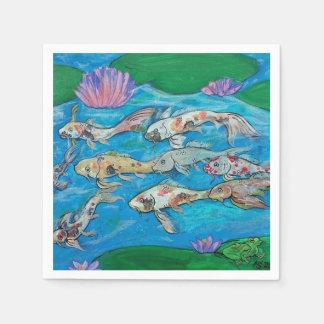 Koi Fish and Frog Pond Napkins Disposable Napkins