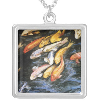 Koi Fish Art Painting Silver Necklace Pendants