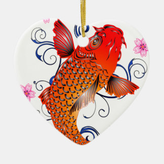 Koi Fish Carp Eastern Blossom Ceramic Ornament