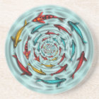 Koi Fish Circle Sandstone Coaster