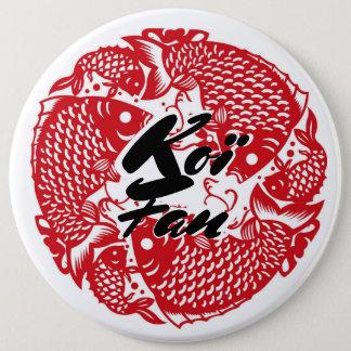 Koï Fish Fan 6 Inch Round Button