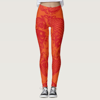Koi Fish Fashion Asian Art Papercut leggings