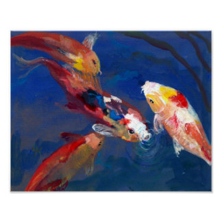 Koi Fish Feeding Poster