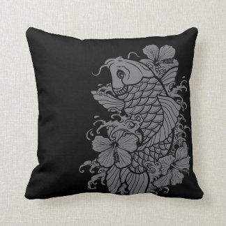 Koi Fish Gray on Black Throw Pillow