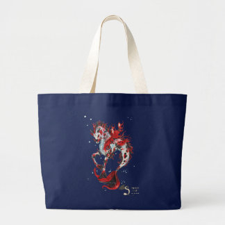 Koi Fish Horse Unicorn Hippocampus Large Tote Bag