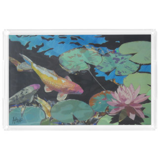 Koi Fish in Lily Pond Acrylic Tray