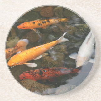Koi Fish In Pond Photograph Coaster