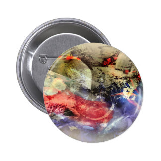 Koi Fish Pond Abstract Antique Plate 2 Inch Round Button