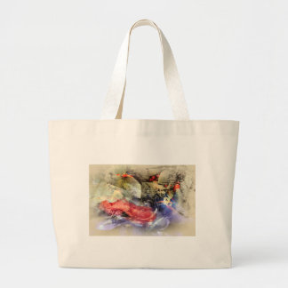 Koi Fish Pond Abstract Antique Plate Large Tote Bag