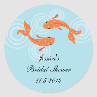 Koi Fish Pond Favor Sticker