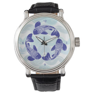 Koi Fish Watch Black Leather Strap