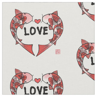 Koi Fish with LOVE Motif Fabric