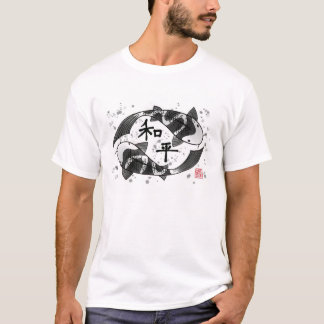 Koi Fish with Peace Character T-Shirt