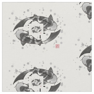 Koi Fish with Peace Chinese Character Motif Fabric