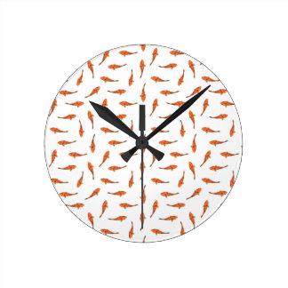 Koi Fishes Motif Pattern Round Clock