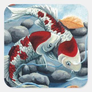 koi fishies square sticker