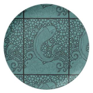 Koi Line Art Design Dinner Plate