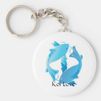 Koi Love Basic Round Button Keychain
