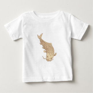 Koi Nishikigoi Carp Diving Down Drawing Baby T-Shirt