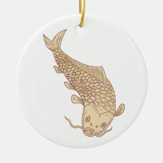 Koi Nishikigoi Carp Diving Down Drawing Ceramic Ornament