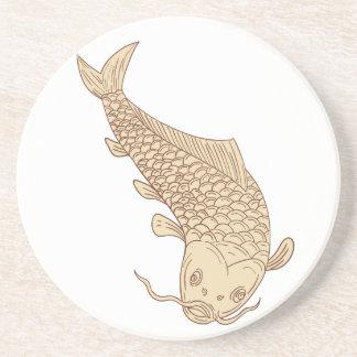 Koi Nishikigoi Carp Diving Down Drawing Coaster