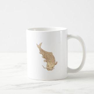 Koi Nishikigoi Carp Diving Down Drawing Coffee Mug