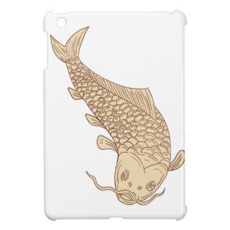 Koi Nishikigoi Carp Diving Down Drawing iPad Mini Cover