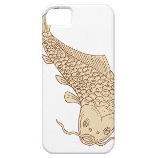 Koi Nishikigoi Carp Diving Down Drawing iPhone 5 Case