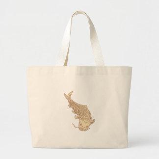 Koi Nishikigoi Carp Diving Down Drawing Large Tote Bag