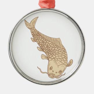 Koi Nishikigoi Carp Diving Down Drawing Metal Ornament