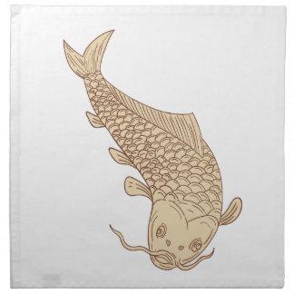 Koi Nishikigoi Carp Diving Down Drawing Napkin