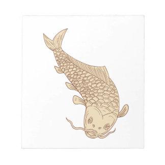 Koi Nishikigoi Carp Diving Down Drawing Notepad