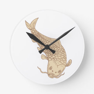 Koi Nishikigoi Carp Diving Down Drawing Round Clock