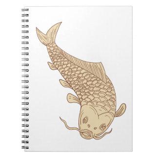 Koi Nishikigoi Carp Diving Down Drawing Spiral Note Books