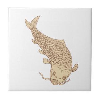 Koi Nishikigoi Carp Diving Down Drawing Tile