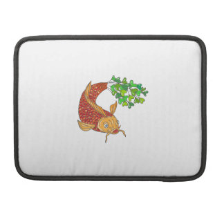Koi Nishikigoi Carp Fish Microgreen Tail Drawing MacBook Pro Sleeves